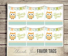 Favor Tags  Digital  Owl Thank You Tags for by StudioTwentyNine, $5.00