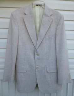 Vintage Men's Stanley Blacker Light Cream Tweed Blazer Jacket Size 38  Now $29.87
