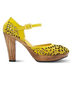 Yellow ankle strap wood plaform heels