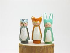 A set of three Forest Friends Wooden Peg doll door Gnomewerkspdx
