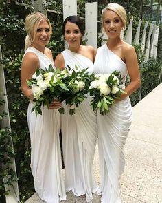 One Shoulder Dresses,White Bridesmaid Dresses,Bridesmaid Dresses 2017,Simple Bridesmaid Dresses,Cheap Bridesmaid Dresses
