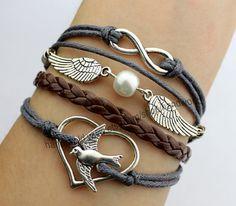 gray rope bracelet heart bracelet birds bracelet silvery wings infinity karma bracelet best choose gift for friend-N1637