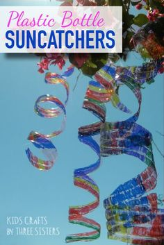 Make colorful plastic bottle sun catchers or suncatchers for spring or summer. Easy recycled kids craft.