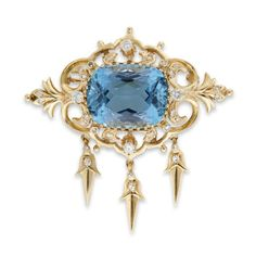 An aquamarine and diamond pendant-brooch <br /> centered by an oval aquamarine, weighing approximately 18.00 carats, mounted in a fourteen karat gold openwork mount, accented by single cut diamonds. <br /> <br /> Length: 2 in. <br />