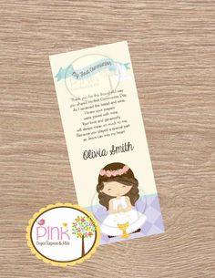 Primera comunión Favor tarjetas  marcador niña bautismo