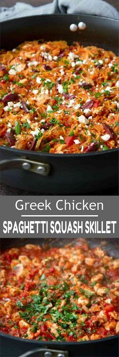 This healthy Chicken Spaghetti Squash Skillet is full of Greek-inspired flavors and couldn't be simpler to make! 222 calories and 1 Weight Watchers Freestyle SP