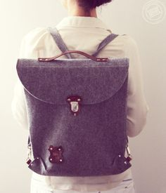 Plecak - torba SILVERBACK. Filc ze skórą ! - Javore - Plecaki