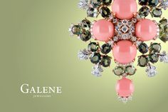 Cindy Camellia Brooch / Pendant 18k rose gold, pink precious coral gemstones, 27 sapphire of 22.74 carats, and 120 pavé diamonds of 2.86 carats.
