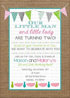 Choo Choo and Tutu Themed Birthday Invitation Twins Birthday