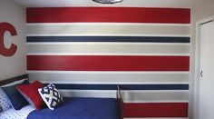 How to paint perfect striped walls I Heart Nap Time I Heart Nap Time - Easy recipes, DIY crafts, Homemaking Painting Stripes On Walls, Paint Stripes, Wall Stripes, Stripes Design, Boys Bedroom Paint, Bedroom Wall, Striped Walls Bedroom, Striped Painted Walls, Boys Room Paint Ideas