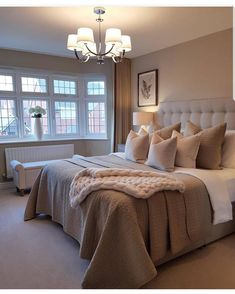 Sweet Master Bedroom Decor Ideas and Remodel ~ Beautiful House Tan Bedroom, White Bedroom Furniture, Room Ideas Bedroom, Master Bedroom Design, Cozy Bedroom, Dream Bedroom, Home Decor Bedroom, Modern Bedroom, Beige Bedrooms