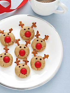 Peanut butter Rudolph Reindeer Cookies. - Holidays
