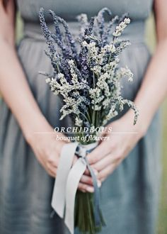 Hottest 7 Spring Wedding Flowers---Grey And Lavender Wedding Ideas , rustic wedding bouquets with dusty blue ribbon, outdoor wedding ceremony ideas Simple Bridesmaid Bouquets, Summer Wedding Bouquets, Purple Wedding, Spring Wedding, Floral Wedding, Wedding Flowers, Trendy Wedding, Wedding Dresses, Ribbon Wedding