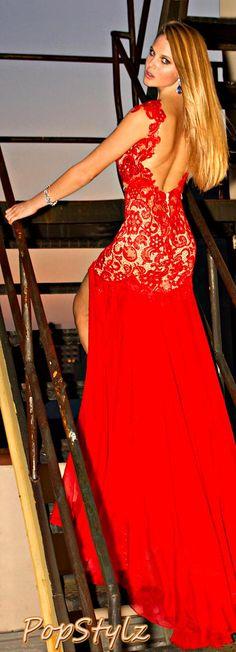 Mac Duggal - Lacy Red Dress #longdress #dresses #dress