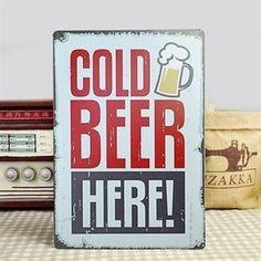 Cold Beer Here! - Emaljeskilt til baren fra NiceWall.dk