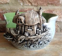 """""""Cottage By The Sea"""" Ceramic Yarn Bowl - I must buy one of these!!!"""