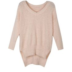 WithChic Pink V Neck Side Split Fluffy Jumper (€37) ❤ liked on Polyvore featuring tops, sweaters, long sweaters, pink jumper, v neck sweater, acrylic sweater and long sleeve sweaters