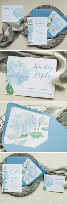 Elegant Hydrangea wedding invitations with slate blue and dusty blue accents. Affordable and unique custom wedding invitations!