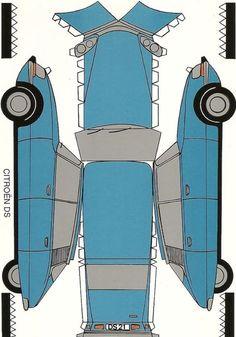 One sheet-Cut-Fold and Glue-classic-cars-Citroen-DS en-papier Paper Model Car, Paper Car, Paper Plane, Paper Models, Diy Paper, Cardboard Model, Cardboard Toys, Paper Toys, Citroen Ds