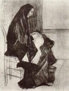 Figure of a Woman with Unfinished Chair 1882 Vincent van Gogh