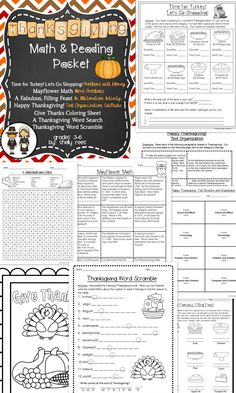 Thanksgiving Math and Reading Packet for Grades 3-6.  Alliteration, Text Structure, Math Word Problems, Money, Word Puzzles, Coloring Sheet--All related to Thanksgiving!  Fun for students and easy for teachers!  Answer keys included!