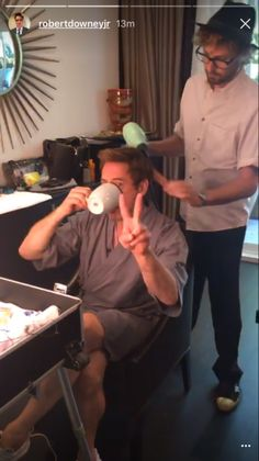 Robert Downey Jr - getting ready for the Spider-Man: Homecoming premiere with stylist Davy Newkirk.
