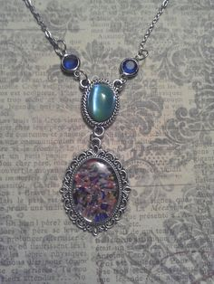 Vintage Multi Color Mirrored Glass Pendant With Blue - Green Iridescent Czech Glass, and Royal Blue Connectors Pendant on Silver Necklace