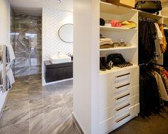 Brodie & Niki Retallick's master bedroom white built in designer wardrobe #wardrobes #designerwardrboes #interiordesign #house #brodieretallick #storage #generationhomes