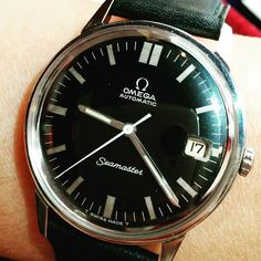 ON MY WRIST TODAY!  Rare black face original Omega Seamaster automatic date wrist watch circa 1967 #omega #omegaseamster #rarewatch  #automaticwatch #wristwatch #60swatch