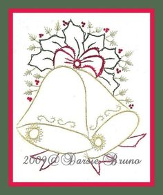 Christmas Bells and Holly Paper Embroidery Pattern for Greeting Cards