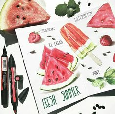 Basic Drawing, Food Drawing, Watermelon Ice Cream, Food Sketch, Beauty In Art, Food Painting, Sketch Markers, Food Journal, Art Icon