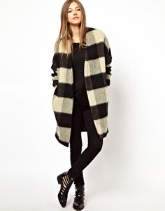 Maison Scotch Oversized Coat in Check