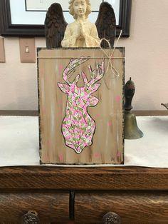Woodland floral deer handpainted art on wood rustic art   Etsy