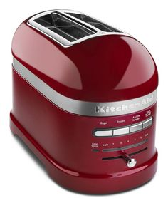 This KitchenAid 2 Slice Toaster with an auto sensor to Lower and Lift toast, in Candy Apple Red. This 2 slice Toaster is part of the KitchenAid ProLine Collection. Red Kitchen, Small Kitchen Appliances, Kitchen Tools, Kitchen Gadgets, Kitchen Stuff, Kitchen Utensils, Red Appliances, House Appliances, Cleaning Appliances