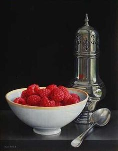 Jessica Brown, Still life with sugar Shaker and Raspberries