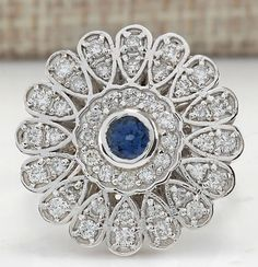 Catawiki online auction house: 1.70 Carat Sapphire And Diamond In 14K Solid White Gold - Ring Size: 7 *** Free shipping *** No reserve *** Free resizing ***