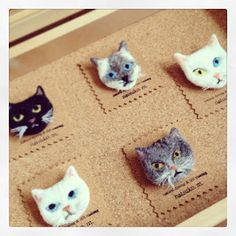 Felted cat faces