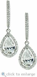Ziamond Cubic Zirconia Halo Pear Drop Earrings in 14K White Gold.  The LaRue Pear Drop Earrings feature a 1.5 carat pear with a halo of pave set cz. $695 #ziamond #cubiczirconia #cz #earrings #drops #halo #dangle