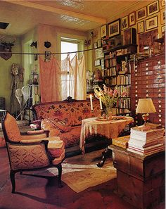 Ethnic Cottage Decor: Maximalism or.MORE IS MORE Decor! This is a pic from Interior Alchemy by Rebecca Purcell wonderful book may be out of print ed Home Studio, Interior Design Books, Interior Decorating, Decorating Ideas, Bohemian Living, Bohemian Style, Boho Chic, Shabby Chic, Gypsy Chic