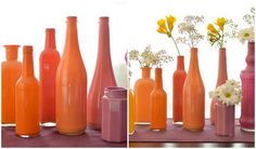 Decoration with flowers and vases inside for spring # pussy willow # early . Decoration with flowers and vases inside for spring # pussy willow # early . Painted Glass Bottles, Bottles And Jars, Glass Paint, Diy Cristals, Vases, White Hand Towels, Décor Boho, Bottle Painting, Flower Planters