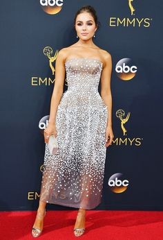 Olivia Culpo wearing a Zac Posen dress at the 2016 Emmy Awards.