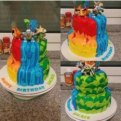 Charizard, Blastoise, Chesnaught, Starting Pokémon, cake; Anime Food