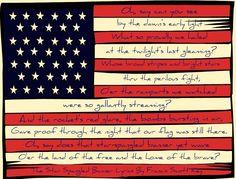 Love the SSB lyrics on the flag!!    Print on cardstock and laminate.