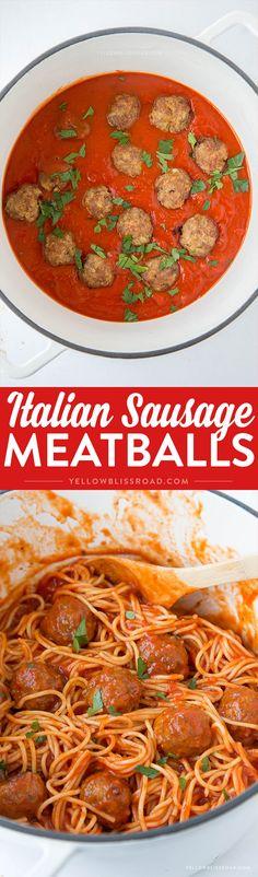 Baked Italian Sausage Meatballs - Just a few ingredients turn spaghetti night…