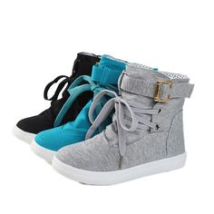 Hot Womens Fashion Sneakers Cloth Lace-Up Ankle Buckle Boot Flats Preppy Leisure