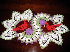 Cardinal Doily approx . 19.5 x 14.5 Red by MakingStringPretty, $30.00