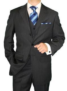 Gino Valentino 3 Piece Men's Suit 3 Button Jacket Vested Charcoal Stripe Charcoal  MensSuitHabit.com