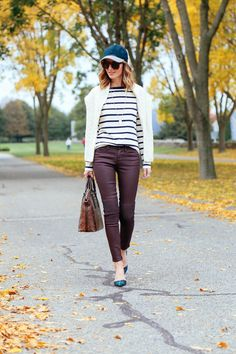 baseball cap + striped shirt + coated jeans + plaid pumps