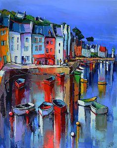 """Sauzon Belle Lle En Mer"" - by Eric Lepapa ~ French Watercolor Illustration, Watercolor Art, Mediterranean Paintings, Boat Art, French Art, Acrylic Art, Painting Inspiration, Painting & Drawing, Boat Painting"