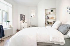 my scandinavian home: Swedish apartment in white and grey Beautiful Bedrooms, Home, Home Bedroom, Bedroom Interior, Scandinavian Home, My Scandinavian Home, Luxurious Bedrooms, House Rooms, Home Deco